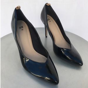 H&M Black Patent Stiletto Heel Pump